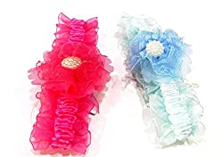 1stbabystore baby girl headband hairband cloth band hair accessories with design for newborn to 3 years, Rani,Blue(2 pieces)