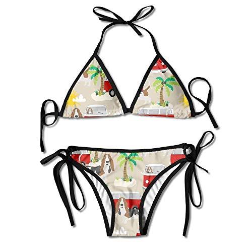 Zcfhike Basset Hound Dog Beach Bus Hippie Bus Palm Trees Women Sexy Low Waist Bandage Bikini Beachwear Swimsuit -