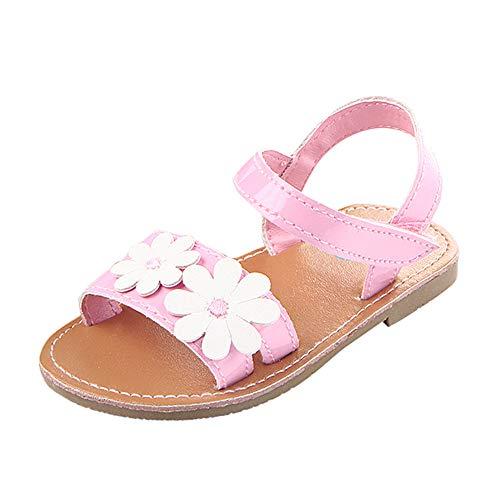 feiXIANG Sandalen für Kinder Mädchen beiläufige Strand Outdoor Blume Lauflernschuhe Sommer rutschfeste Baby Schuhe (Rosa,11=6M) 6m Schuhe