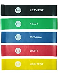 Resistance Loop Bands - elevons Premium High Quality Exercise Bands Set of 5 for Yoga, Pilates, and Strength Training