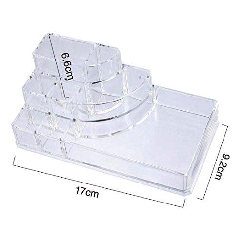 Amuster Caisse de maquillage de récipient de stockage de maquillage de présentoir (Transparent)