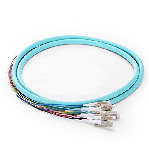125 Faseroptik (LC 50/125 Multimode OM3 Fasern Faseroptik Pigtail 0,9 mm PVC-Mantel 12 Stück 1m)