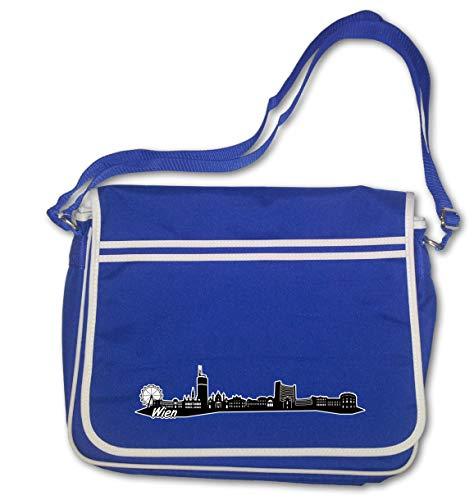 Samunshi® Freizeittasche Wien City Skyline Österreich Hauptstadt Retro Messenger 40x30x10cm königsblau/Farbiger Aufdruck