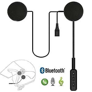Leoie Motorcycle Helmet Headset Bluetooth 4.0 Dual Stereo Speakers Hands-Free Music Call Control Mic Earphone Black