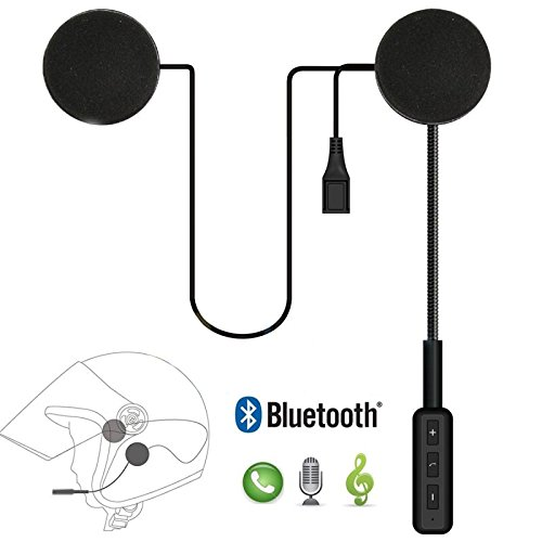 Leoie Motorcycle Helmet Headset Bluetooth 4.0 Dual Stereo Speakers Hands-Free Music Call Control Mic Earphone Black