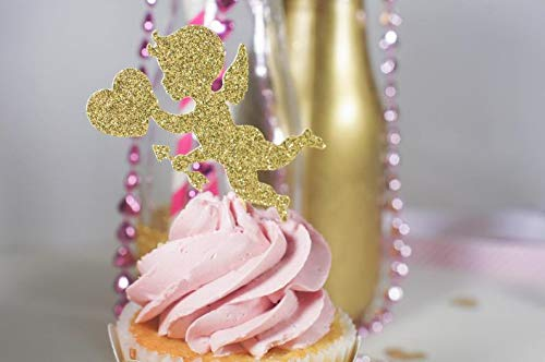 Cake Topper Valentine'S Day Glitter Cupid Cup S Cupcake And S Cardstock Glitter Paper (Cupid Cupcake)