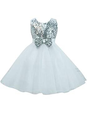 Ragazze Bambina Paillettes Abito Bambina Maniche Principessa Compleanno Festa Matrimonio Sera Vestito Bianco per...