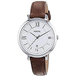 FOSSIL Montre Jacqueline femme / Montre-bracelet boyfriend classique avec bracelet vintage en cuir brun - Boîte de rangement et pile incluses