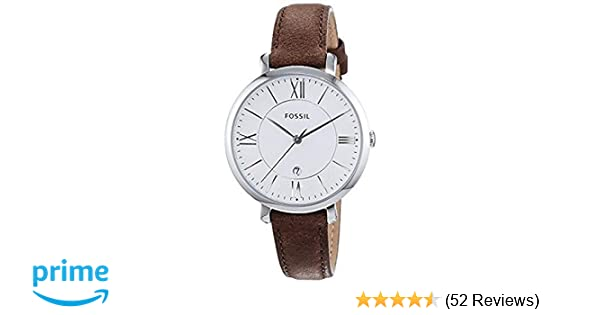 e1fc3b248cd1 FOSSIL Jacqueline Brown Leather Watch - Analogue Women s Quartz Wrist Watch  with Date Function in Gift Box - Stainless Steel Case and Silver Dial  ...