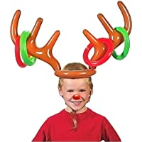 Christmas Inflatable Reindeer Antler Hat with Rings Party Toss Games for Kids All Family