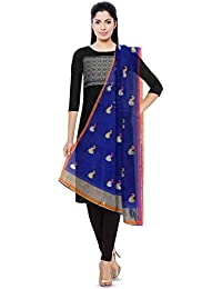 MOTAMAL HANDLOOM Chanderi Cotton & Silk Women's Dupatta (Blue)
