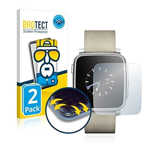 BROTECT Full Cover Schutzfolie kompatibel mit Pebble Time Steel [2er Pack] - Full Screen Bildschirmschutz, 3D Curved, Kristall-Klar
