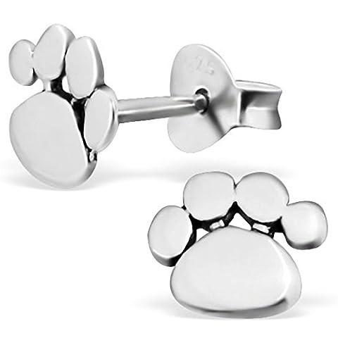 EYS JEWELRY® Damen-Ohrringe Hunde-Pfoten Tatzen 7 x 7 mm blank 925 Sterling Silber oxidiert silber im Schmuck-Etui Ohrstecker Stecker
