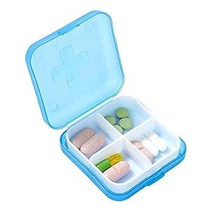 SMARTRICH Medizin Pillendose, Pill Box Organizer mit 4 Fächern – Reise Pillendose Organizer Tablet Medizinlager