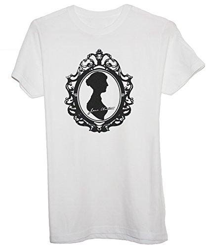 New Indastria T-Shirt Jane Austen Cameo Cornice Firma - Janeites - Donna-S-Bianca