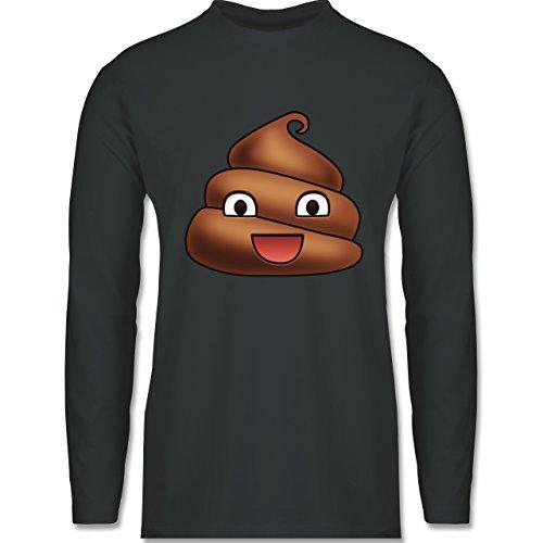 Shirtracer Statement Shirts - Kackhaufen Emoji - Herren Langarmshirt Dunkelgrau