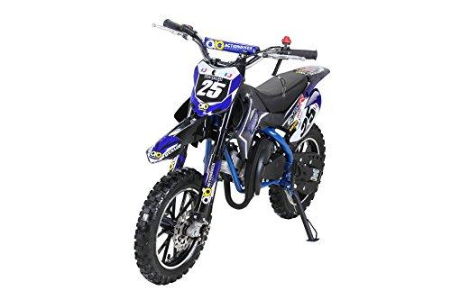 Actionbikes Motors Kinder Mini Crossbike Gepard 49 cc 2-takt inklusive Tuning Kupplung 15mm Vergaser Easy Pull Start verstärkte Gabel Dirt Bike Dirtbike Pocket Cross (Blau)