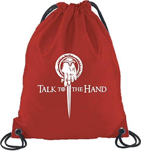 Shirtstreet24, Talk To The Hand, Turnbeutel Rucksack Sport Beutel Rot