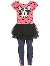 Little Girls Coral Black Dog Heart Print Ruffle Tutu 2 Pc Legging Set 2T-6X