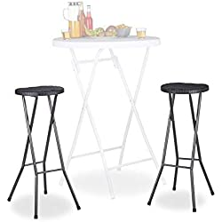 Relaxdays Tabouret pliant de jardin BASTIAN lot de 2 sans dossier résistant hauteur 80 cm chaise de bar plastique optique rotin, noir