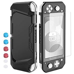 HEYSTOP Hülle für Nintendo Switch Lite,Nintendo Switch Lite Hülle mit Schutzfolie, 6 Joystick Kappen, TPU Schutzhülle für Nintendo Switch Lite Zubehör Stoßdämpfung und Anti-Scratch(Schwarz)
