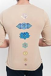Yogamasti Herren Bio Chakra V Hals T Shirt-khakhi (Khakhi, Mediumlarge)