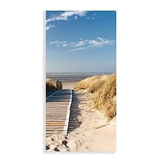 Artland Qualitätsbilder I Glasbilder Deko Glas Bilder 50x100 cm Landschaften Strand Foto Creme D8PV Nordseestrand auf Langeoog - Steg