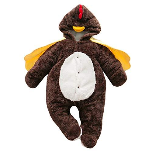 (JEELINBORE Baby Strampler Pyjama Tier Kostüme Plüsch Tieroutfit Cosplay Jumpsuit Spielanzug Winter Nachtwäsche mit Kapuze (Braun Küken, 90CM))