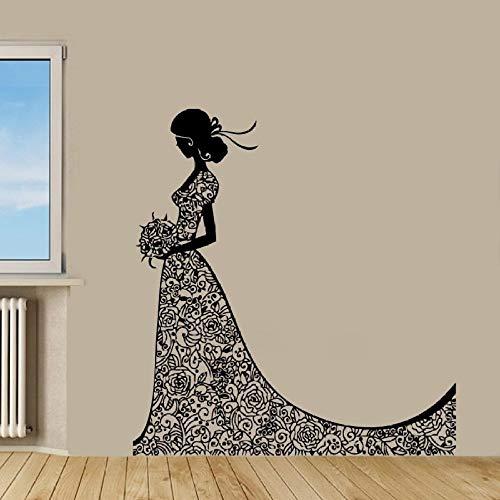 jiushizq Wandtattoo Vinyl Schönheit Braut Aufkleber Mode Mädchen Im Hochzeitskleid Schönheitssalon Home House Art Decor Wandbild Poster Papier Ww Schwarz 150X160 cm