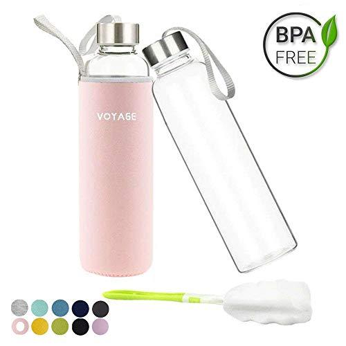 VOYAGE Botella de Agua Cristal 550ml, Botella de Agua Reutilizable 18