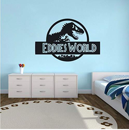 Lvabc Jungen Zimmer Dekor Jurassic World Wandaufkleber Benutzerdefinierte Name Jurassic World Vinyl Wandtattoo Dinosaurier Stil Tapete Wandkunst 42X28 Cm (Zimmer Dinosaurier Dekor)