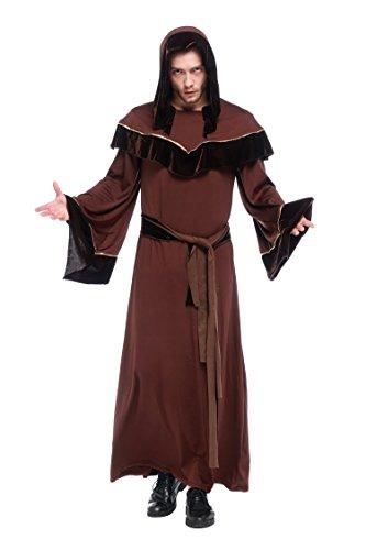 VENI MASEE Friar Mittelalterliche Kapuze Mönch Renaissance Priester Robe Kostüm Cosplay - Brown