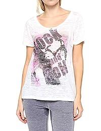 Dorothy Blue Damen Shirt Motiv T-Shirt ROCK & ROLL, Farbe: Weiss