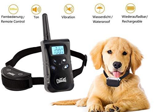 cooligg Hunde Erziehungshalsband Anti Bell Hundehalsband mit 3 Modi Ton,Vibration und Ton & Vibration, 500m Fernbedienung Training Halsband für Hunde, Wiederaufladbar und Wasserdicht