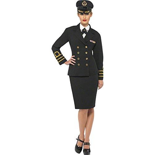 Smiffys, Damen Marineoffizier Kostüm, Jacke, Rock, Mock Hemd und Mütze, Größe: M, (Weiblich Marine Kostüme)