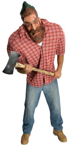 Herren Holzfäller Kostüme (Kostüm Dickschädeliger Holzfäller, Faschingskostüm für Herren, mit Riesen-Maske und Schulterpolstern, Größe)