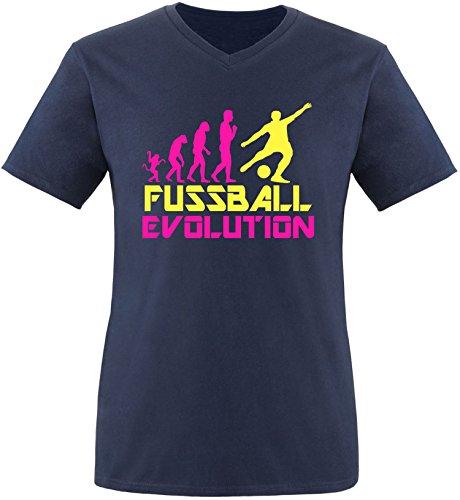 EZYshirt® Fussball Evolution Herren V-Neck T-Shirt Navy/Pink/Gelb
