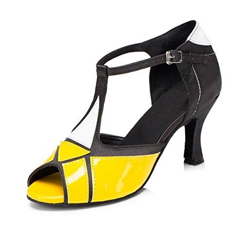 Minitoo L199da donna T-Strap Sintetico Scarpe da danza latina Salsa Yellow