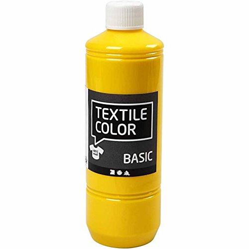 Textilfarbe Primärgelb 34142 von Creativ Company - Stoffmalfarbe zum Verzieren von Textilien wie Taschen, Kissenbezügen, Kleidung, usw. 500 ml.
