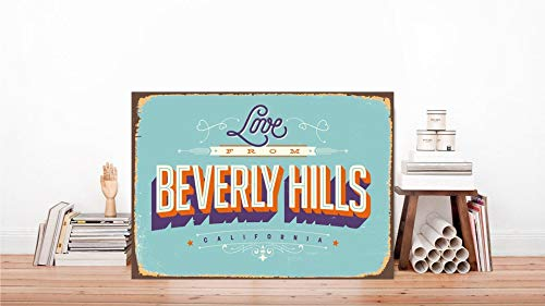 DKISEE Decorative Metal Sign Beverly Hills Metal Sign Beverly Hills Print Sign City Wall Sign Door Decor Sign Vintage Style Sign Custom Rustic Sign Classic Metal Sign, 18x24 inch/ 45x60 cm Beverly 24