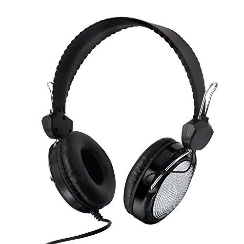 Fulltime E-Gadget Musik Kopfhörer, Wired Over Ear Headset Mit Mikrofon Steuerung Stereo-HiFi-Musik Computer-Headset (Silber)