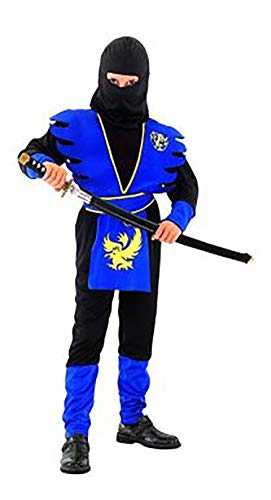 Nerd Clear Ninja Kostüm für Jungen & Mädchen | Größe 140 | schwarz & rot | ideal für Karneval & - Mädchen Ninja Kostüm Blau