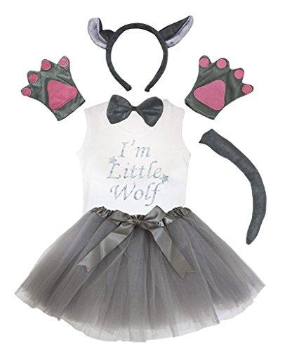 Petitebelle Stirnband Bowtie Schwanz Handschuhe Hemd Rock 6pc Mädchen-Kostüm 1-2 Yr Grauer ()