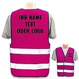 Hochwertige Warnweste mit Leuchtstreifen * auf Wunsch Bedruckt mit Name Text Bild Logo Firma * personalisiertes Design selbst gestalten, Druckposition:Rücken + Linke Brust, Farbe Warnweste:Pink (3XL)