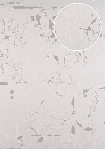 Barock Tapete ATLAS CLA-599-7 Vliestapete geprägt mit Ornamenten glänzend silber perl-beige...