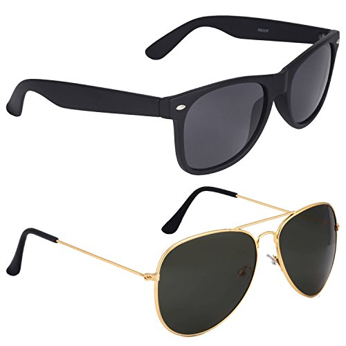 Poloport Mirror UV Protected Non Polarized Metal Unisex Combo Pack of 2 WAYFARER AVIATOR Shaped Sunglasses