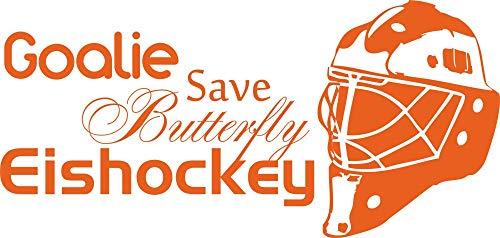 GRAZDesign Wandsticker Wanddeko Jugendliche Junge Eishockey - Geschenkidee Geburtstag Sport Hockey Puck Schläger Helm - Wandtattoo Goalie Save Butterfly / 83x40cm / 660162_40_035 -