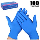 TopBine Nitrilhandschuhe 100 Stück Box Einweghandschuhe, Einmalhandschuhe, Untersuchungshandschuhe, Nitril Handschuhe, puderfrei, ohne Latex, unsteril, latexfrei, disposible gloves(L, blau)