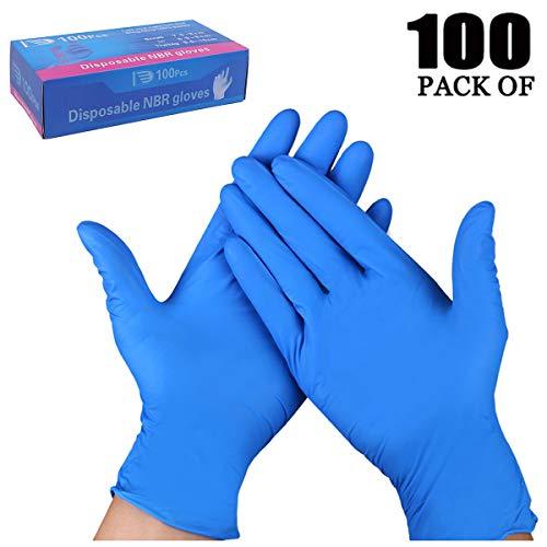 TopBine Nitrilhandschuhe 100 Stück Box Einweghandschuhe, Einmalhandschuhe, Untersuchungshandschuhe, Nitril Handschuhe, puderfrei, ohne Latex, unsteril, latexfrei, disposible gloves(L, blau)