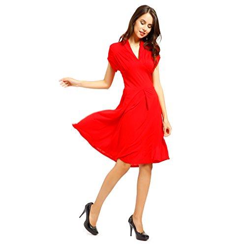 Robe retro manche court pin-up annee 50 60 soiree vert rouge V Rockabilly swing WWII soiree fete Danse Balle Rouge